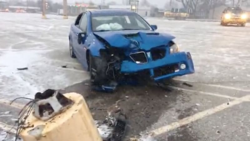 Man doing doughnuts crashes newly purchased car