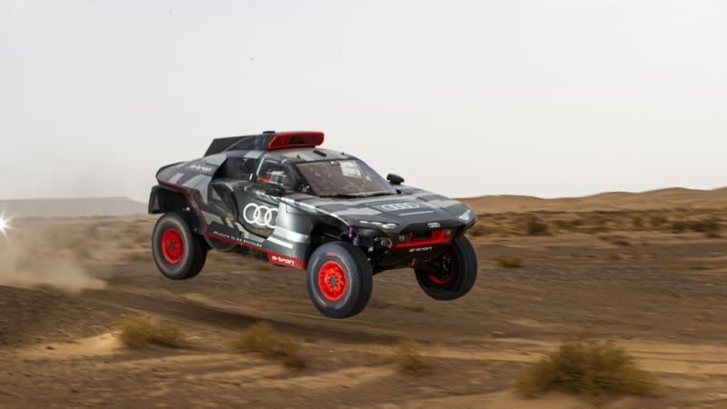 Audi tests its plug-in hybrid Dakar rally car in the scorching Moroccan heat