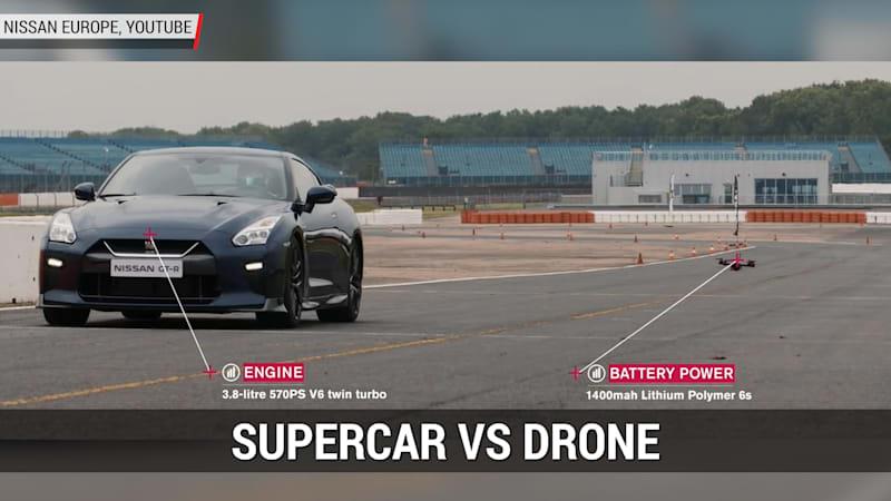Nissan GT-R Supercar Races A Nissan Drone | Autoblog Minute