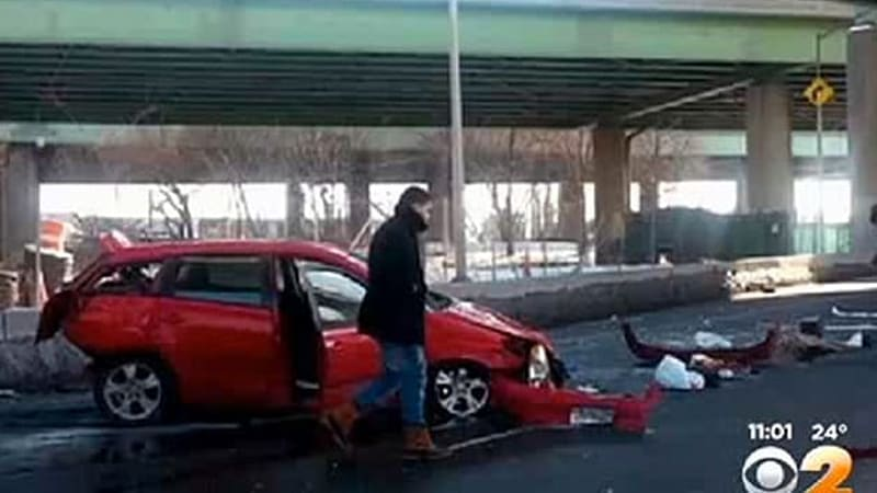 Couple survives 50-foot fall from overpass in Toyota