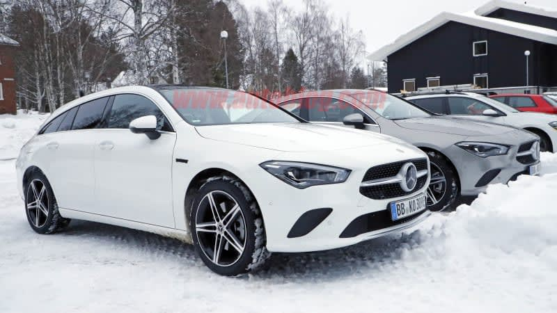 Mercedes-Benz CLA 250e plug-in hybrid spied in sedan and wagon form