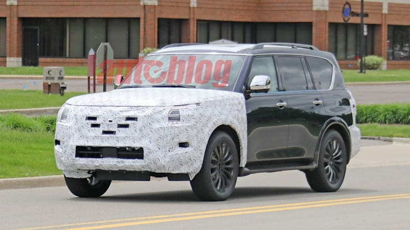2021 Nissan Armada spied hiding refreshed nose and tail