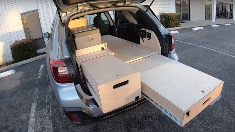 Custom cabinetry gives this Subaru Outback camper cred