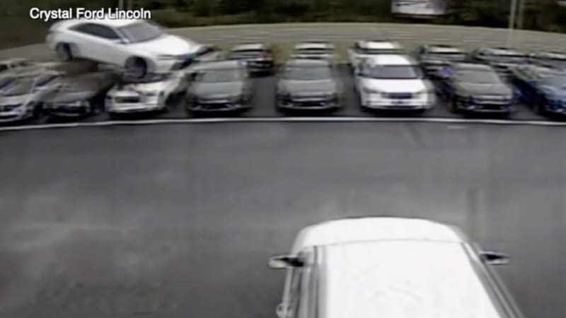 Car jumps 12 dealership vehicles in wild Florida accident