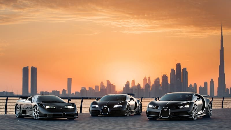 Bugatti put three generations of legendary supercars into one photo