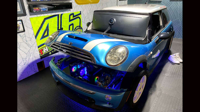 Utah man builds iRacing simulator inside 2005 Mini Cooper S