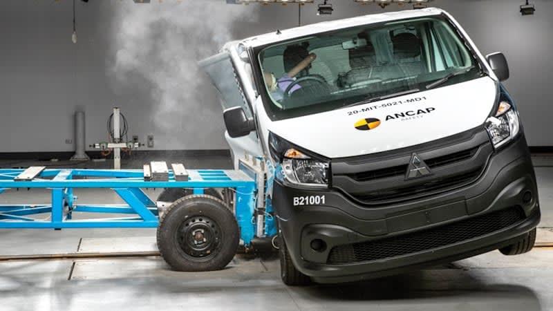 Watch Mitsubishi Express van bend its way to 0-star crash test rating