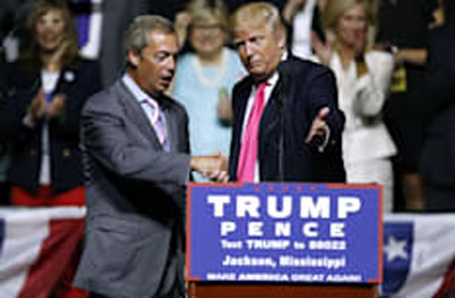 Farage joins Trump on stage (and he's shaved off that tache)