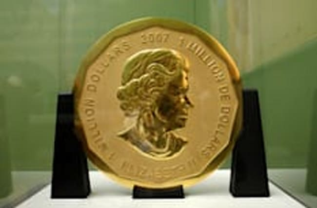 Solid gold coin worth £3.2m is stolen from museum