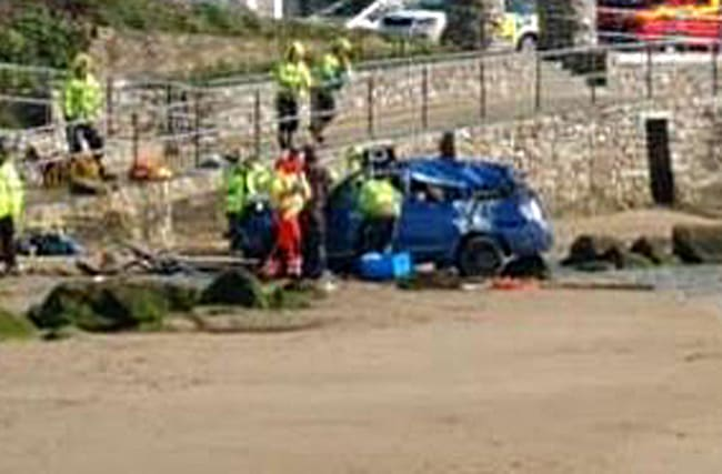 How did this car end up crashed on a Cornish beach?