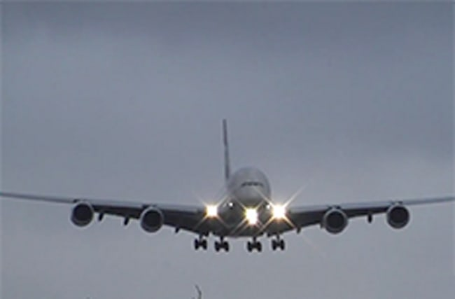 World's largest passenger plane battles to land in Manchester