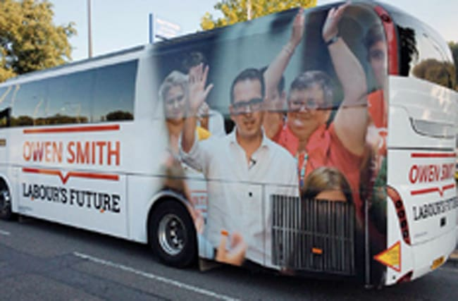 Owen Smith's campaign bus has unfortunate photo on it