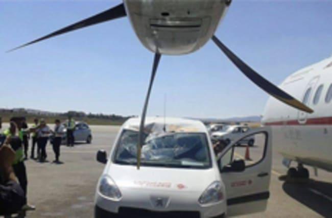 Oops! Van driver leaves vehicle in way of plane propeller