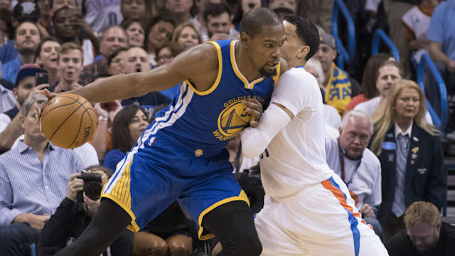 ef03a1f33cce Durant leads Warriors past Thunder in Oklahoma City return - AOL