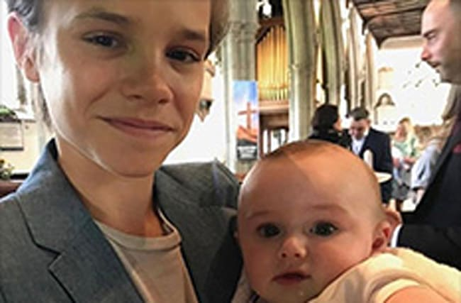 Romeo Beckham proudly shows off his new godson