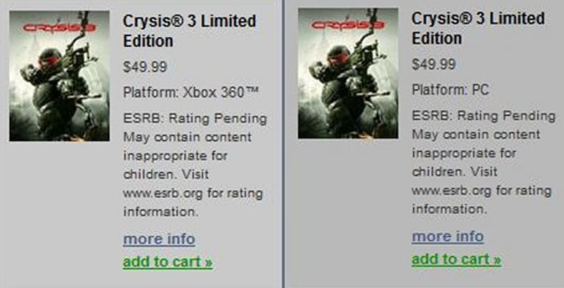 Crysis 3 accidentally revealed by EA's Origin service