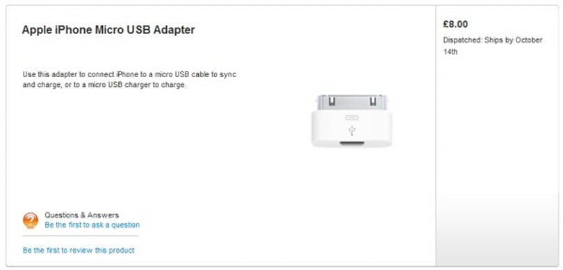 Official iPhone micro-USB adapter quietly sneaks into UK Apple Store