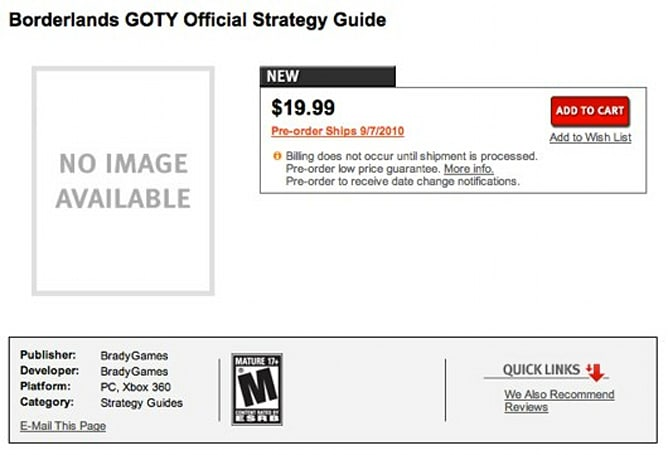 Borderlands GOTY edition teased by GameStop strategy guide listing