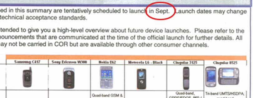 Cingular's September launches in writing (but not in stone)