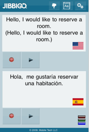 Jibbigo iPhone app translates from English to Spanish and back again