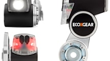 EcoXPower charges a smartphone, bicycle headlight and tail light with pedal power