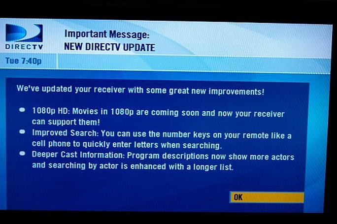 DirecTV DVR software update hits the stage again, now with slightly less fail