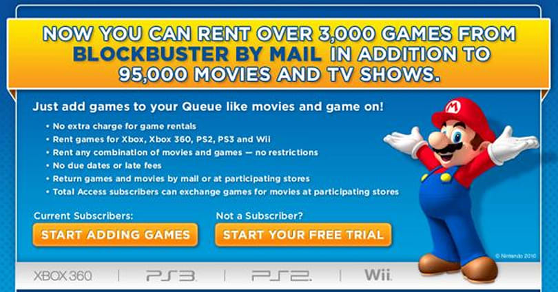 Blockbuster including games in its by-mail rentals