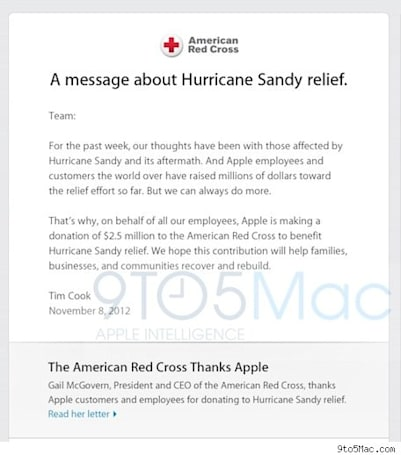 Apple donates $2.5M to aid Hurricane Sandy victims