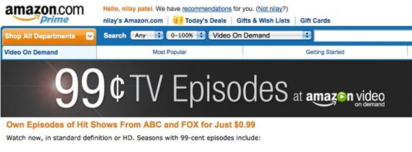 Amazon streaming 99-cent ABC and Fox shows... right now (update: purchases, not rentals!)