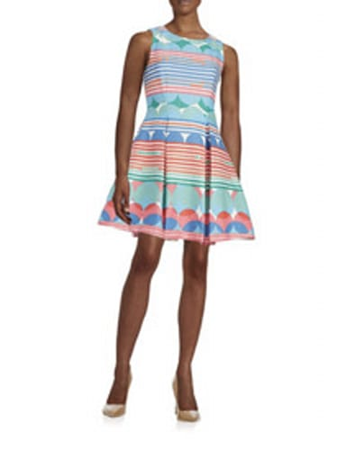 Taylor Patterned Fit and Flare Dress
