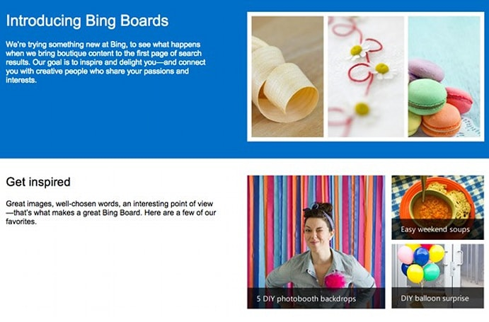 Bing Boards introduce curated content, alliteration to search results