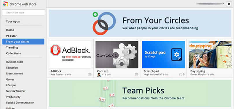 Chrome Web Store offers app recommendations from your Google+ mates, allows you to return the favor
