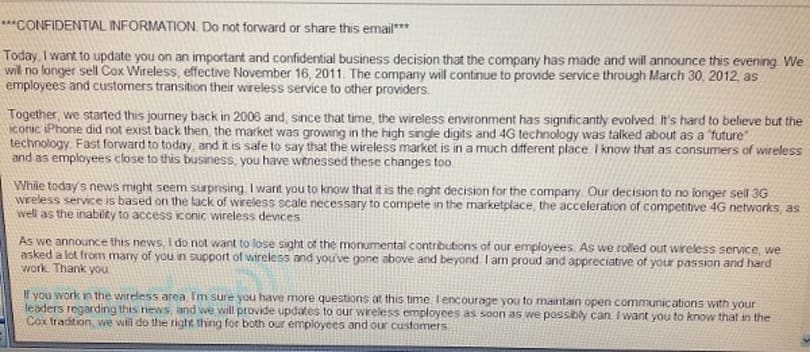 Cox to exit wireless business: sales end Nov. 16th, leaves the air March 30th, 2012