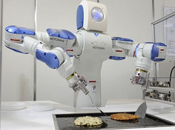 Motoman SDA10 robot shows off its cooking, camera-building skills
