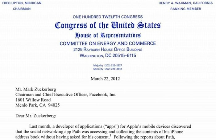 Congressmen ask devs of 34 iOS apps about user privacy