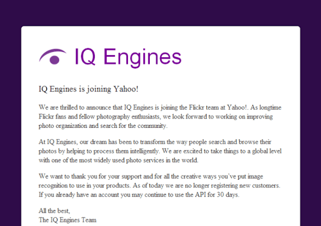 Yahoo buys image recognition firm IQ Engines to reorganize Flickr