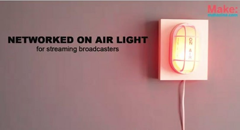 Networked 'On Air' light illuminates when webcast begins, dims when it ends (video)