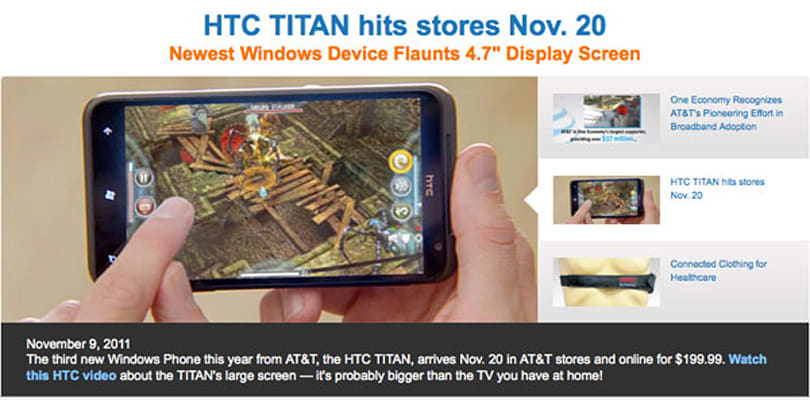 HTC Titan stomps its way over to AT&T on November 20th for $199