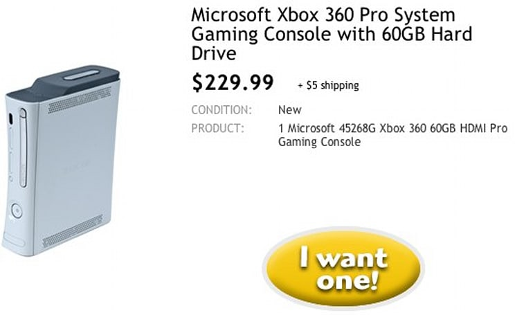 Xbox 360 Pro 60GB for $230 during Woot Sellout