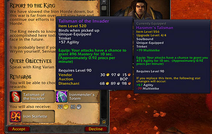 Patch 6.0.2: Blasted Lands quests now rewarding gear