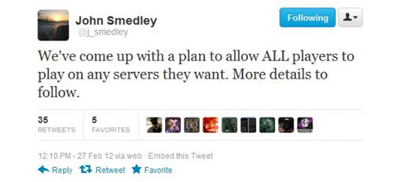 SOE president John Smedley announces that all players will be able to play on any server