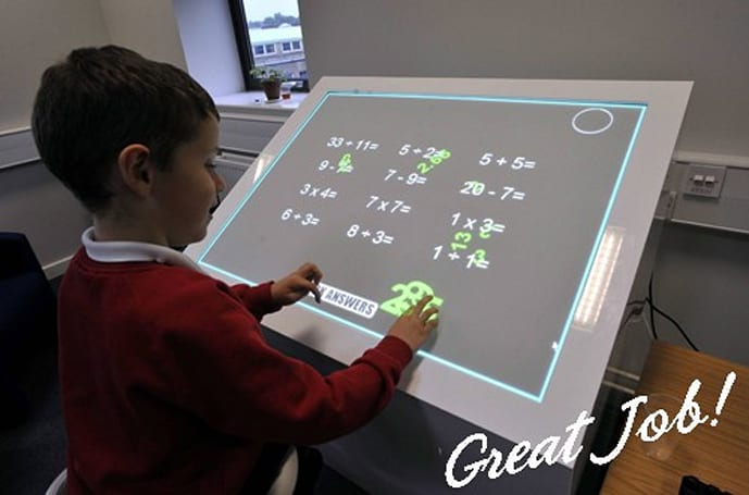 Classrooms of the future to have multitouch desks, probably a few Terminators