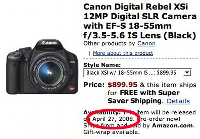 Canon Rebel XSi shows up on Amazon with a ship date: April 27