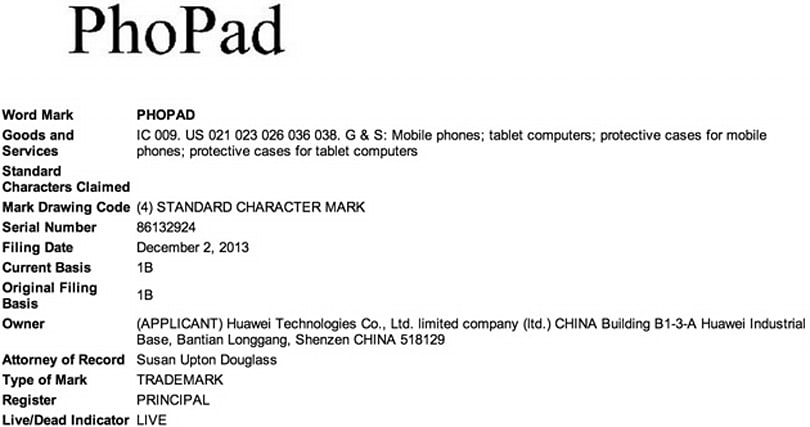 Huawei files trademark for PhoPad, but shouldn't be worried about anyone taking the name