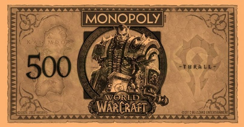 World of Warcraft Monopoly money features heroes on the bills