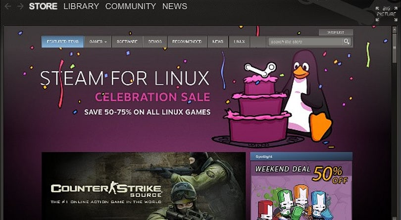 Steam Client officially hits Ubuntu Software Center, all games discounted 50-75% for a limited time