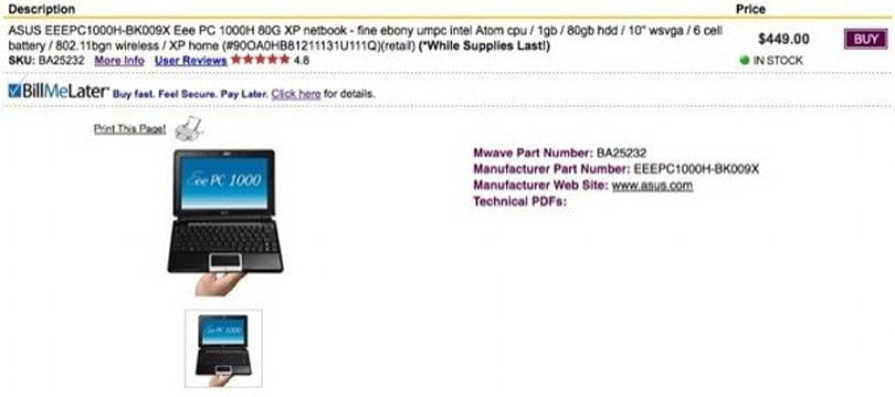 6-cell Eee PC 1000H price plummets to $449