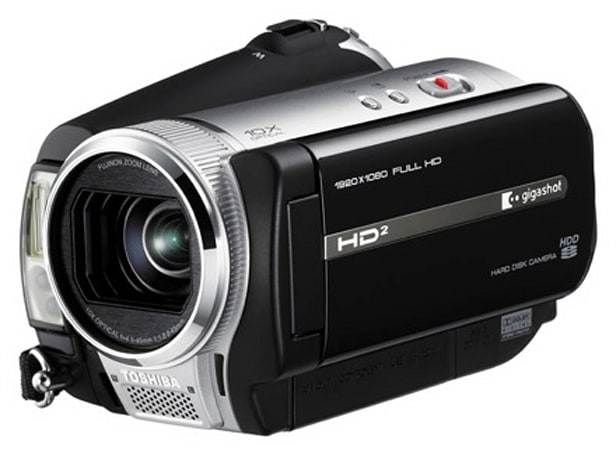 "Toshiba's 100GB gigashot A100F: world's smallest ""Full HD"" camcorder"