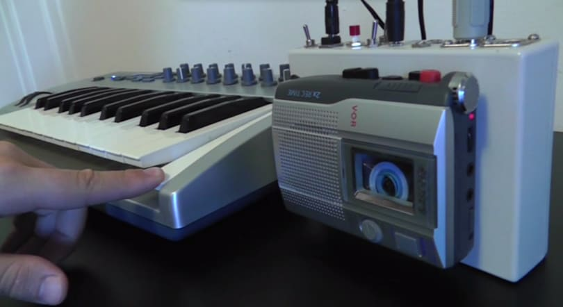 Weird noises emerge from a Frankenstein cassette-tape keyboard