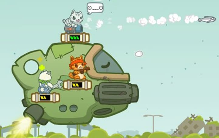 Firearms, futuristic spaceships and lots of explosions in Naughty Kitties